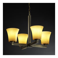 Justice Design CandleAria Modular 4-Light Chandelier in Antique Brass CNDL-8829-20-AMBR-ABRS