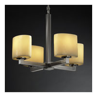 Justice Design CandleAria Modular 4-Light Chandelier in Brushed Nickel CNDL-8829-30-AMBR-NCKL