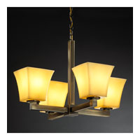 Justice Design CandleAria Modular 4-Light Chandelier in Antique Brass CNDL-8829-40-AMBR-ABRS
