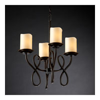 Justice Design CandleAria Capellini 4-Light Chandelier in Dark Bronze CNDL-8910-14-CREM-DBRZ