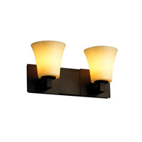 CandleAria 2 Light 15 inch Dark Bronze Bath Bar Wall Light in Round Flared, Amber (CandleAria)