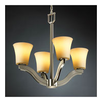 Justice Design CandleAria Bend 4-Light Chandelier in Brushed Nickel CNDL-8970-20-AMBR-NCKL