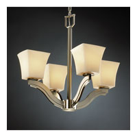 Justice Design CandleAria Bend 4-Light Chandelier in Brushed Nickel CNDL-8970-40-AMBR-NCKL