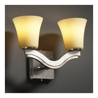Justice Design CandleAria Bend 2-Light Wall Sconce (Style 2) in Brushed Nickel CNDL-8975-20-AMBR-NCKL