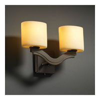 Justice Design CandleAria Bend 2-Light Wall Sconce (Style 2) in Dark Bronze CNDL-8975-30-AMBR-DBRZ