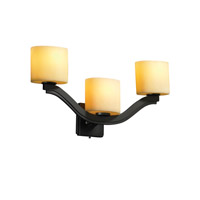 Justice Design CandleAria Bend 3-Light Wall Sconce (Style 2) in Dark Bronze CNDL-8976-30-AMBR-DBRZ
