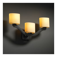 Justice Design CandleAria Bend 3-Light Wall Sconce (Style 2) in Matte Black CNDL-8976-30-AMBR-MBLK