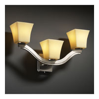Justice Design CandleAria Bend 3-Light Wall Sconce (Style 2) in Brushed Nickel CNDL-8976-40-AMBR-NCKL