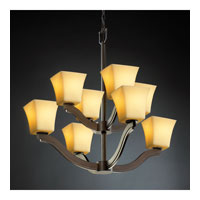Justice Design CandleAria Bend 8-Light 2-Tier Chandelier in Dark Bronze CNDL-8978-40-AMBR-DBRZ photo thumbnail