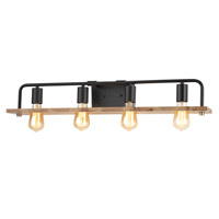 Justice Design ECO-8394-WOOD-MBLK EVOLV 34 inch Matte Black Bath Bar Wall Light Loft Family