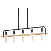 Justice Design ECO-8469-WOOD-MBLK Eco Bronx 5 Light 5 inch Matte Black Chandelier Ceiling Light