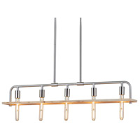 Justice Design ECO-8469-WOOD-NCKL Eco Bronx 5 Light 5 inch Brushed Nickel Chandelier Ceiling Light