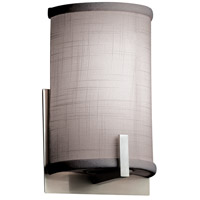 Justice Design FAB-5531-GRAY-NCKL Textile 1 Light 6 inch Brushed Nickel ADA Wall Sconce Wall Light, Half-Cylinder