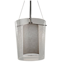 Justice Design FAB-8010-GRAY-CROM Textile 1 Light 12 inch Polished Chrome Pendant Ceiling Light, Drum