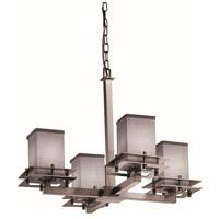 Justice Design FAB-8100-15-GRAY-NCKL Textile 4 Light 25 inch Brushed Nickel Chandelier Ceiling Light Square w/ Flat Rim