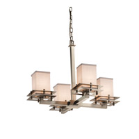 Justice Design Group Textile LED Chandelier in Brushed Nickel FAB-8100-15-WHTE-NCKL-LED4-2800