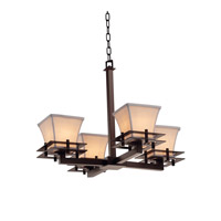 Textile LED 25 inch Dark Bronze Chandelier Ceiling Light in Cream, 2800 Lm 4 Light LED, Square Flared
