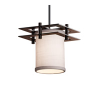 Textile LED Dark Bronze Pendant Ceiling Light in White, 700 Lm 1 Light LED, Black Cord, Cylinder with Flat Rim