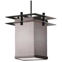 Justice Design FAB-8165-15-GRAY-MBLK-BKCD Textile 1 Light 7 inch Matte Black Pendant Ceiling Light Square w/ Flat Rim