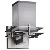 Justice Design FAB-8171-15-GRAY-NCKL Textile 1 Light 7 inch Brushed Nickel Wall Sconce Wall Light Square w/ Flat Rim