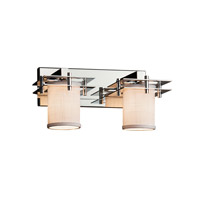 Textile LED 17 inch Polished Chrome Vanity Light Wall Light in 8.25, White, 1400 Lm 2 Light LED, Cylinder with Flat Rim