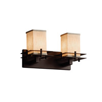 Justice Design Group Textile 2 Light Vanity Light in Dark Bronze FAB-8172-15-CREM-DBRZ