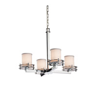 Textile LED 25 inch Polished Chrome Chandelier Ceiling Light in Cylinder with Flat Rim, 2800 Lm 4 Light LED, White