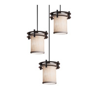 Textile 3 Light Dark Bronze Pendant Ceiling Light in White, Fluorescent, Cylinder with Flat Rim