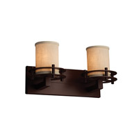 Textile 2 Light 17 inch Dark Bronze Vanity Light Wall Light in Cream, Cylinder with Flat Rim
