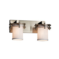 Textile 2 Light 17 inch Brushed Nickel Vanity Light Wall Light in White, Cylinder with Flat Rim