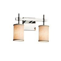 Textile LED 13 inch Polished Chrome Vanity Light Wall Light in Cylinder with Flat Rim, 1400 Lm 2 Light LED, Cream (CandleAria)