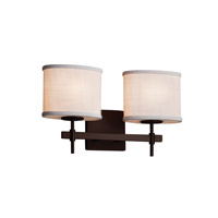 Justice Design Group Textile 2 Light Vanity Light in Dark Bronze FAB-8412-30-WHTE-DBRZ