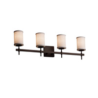 Textile 4 Light 31 inch Dark Bronze Vanity Light Wall Light in White, Fluorescent, Cylinder with Flat Rim