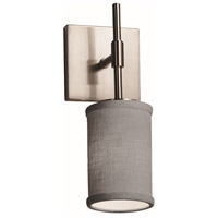 Justice Design FAB-8415-10-GRAY-NCKL Textile 1 Light 5 inch Brushed Nickel Wall Sconce Wall Light Cylinder w/ Flat Rim