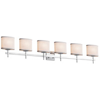 Justice Design FAB-8416-10-CREM-CROM Textile 6 Light 49 inch Polished Chrome Bath Bar Wall Light in Cream, Cylinder with Flat Rim, Incandescent