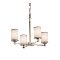 Textile LED 21 inch Brushed Nickel Chandelier Ceiling Light in Cylinder with Flat Rim, 2800 Lm 4 Light LED, White