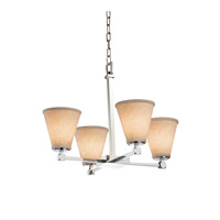 Textile LED 23 inch Polished Chrome Chandelier Ceiling Light in Cone, 2800 Lm 4 Light LED, Cream (CandleAria)