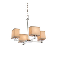 Textile LED 20 inch Polished Chrome Chandelier Ceiling Light in Rectangle, 2800 Lm 4 Light LED, Cream (CandleAria)