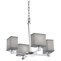 Justice Design FAB-8420-55-GRAY-CROM Textile 4 Light 20 inch Polished Chrome Chandelier Ceiling Light Rectangle