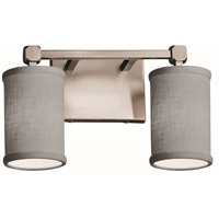 Justice Design FAB-8422-10-GRAY-NCKL Textile 2 Light 13 inch Brushed Nickel Bath Bar Wall Light Cylinder w/ Flat Rim