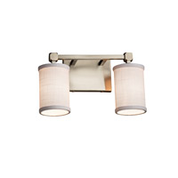 Textile 2 Light 13 inch Brushed Nickel Vanity Light Wall Light in White, Fluorescent, Cylinder with Flat Rim
