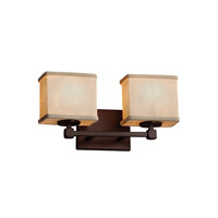 Textile 2 Light 15 inch Dark Bronze Vanity Light Wall Light in Cream, Fluorescent, Rectangle