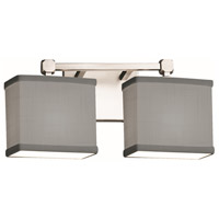Justice Design FAB-8422-55-GRAY-CROM Textile 2 Light 15 inch Polished Chrome Bath Bar Wall Light Rectangle