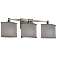 Justice Design FAB-8423-30-GRAY-NCKL Textile 3 Light 25 inch Brushed Nickel Bath Bar Wall Light Oval