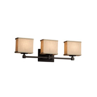 Textile 3 Light 24 inch Dark Bronze Vanity Light Wall Light in 7.25, Cream, LED, 23.5, Rectangle