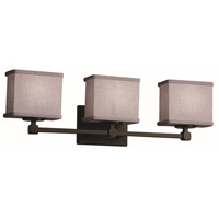 Justice Design FAB-8423-55-GRAY-DBRZ Textile 3 Light 24 inch Dark Bronze Bath Bar Wall Light Rectangle