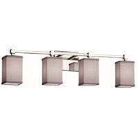 Justice Design FAB-8424-15-GRAY-CROM Textile 4 Light 31 inch Polished Chrome Bath Bar Wall Light Square w/ Flat Rim