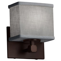 Justice Design FAB-8427-55-GRAY-DBRZ Textile 1 Light 7 inch Dark Bronze ADA Wall Sconce Wall Light, Rectangle