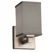 Justice Design FAB-8431-15-GRAY-NCKL Textile 1 Light 5 inch Brushed Nickel Wall Sconce Wall Light, Square w/ Flat Rim