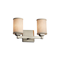 Textile 2 Light 13 inch Brushed Nickel Vanity Light Wall Light in Cream, Fluorescent, Cylinder with Flat Rim